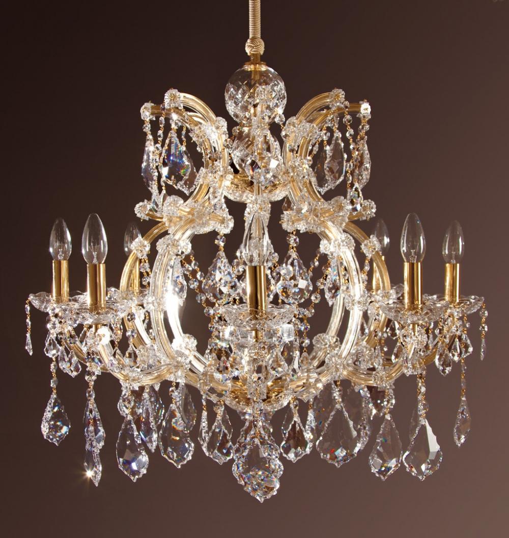 Durchmesser: 70 Cm. Höhe: 80 Cm. Beleuchtung: 8 X E14 + 1 X E27 Oberfläche:  24 Ct. Gold. Qualität: STRASS Swarovski Kristall, Brilliant Kristall  Vollschliff ...
